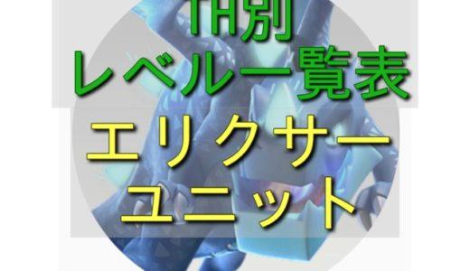 【 TH別 レベル一覧表】エリクサーユニット編 2018.6